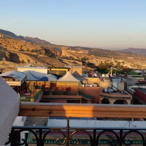 Rooftop view on Merinids tombs and Medina